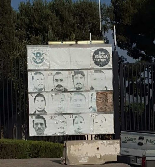 Wanted poster at Tecate and San Diego border
