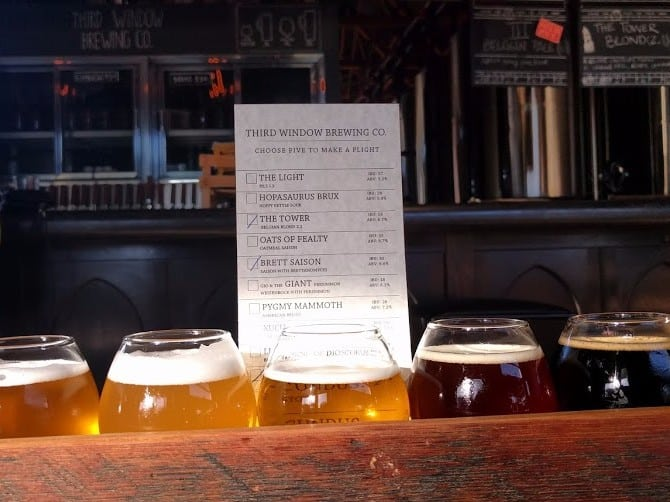 Five beers for tasting at Third Window Brewing in Santa Barbara