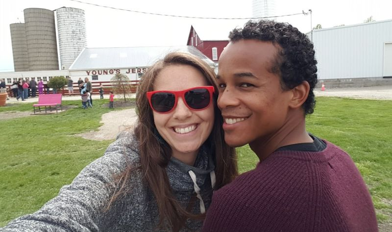 Interracial couple taking selfie at Young Jersey's Dairy in Springfield, Ohio