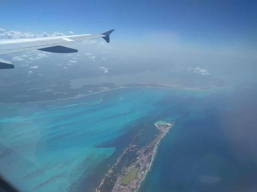 View over Cancun from the airplane