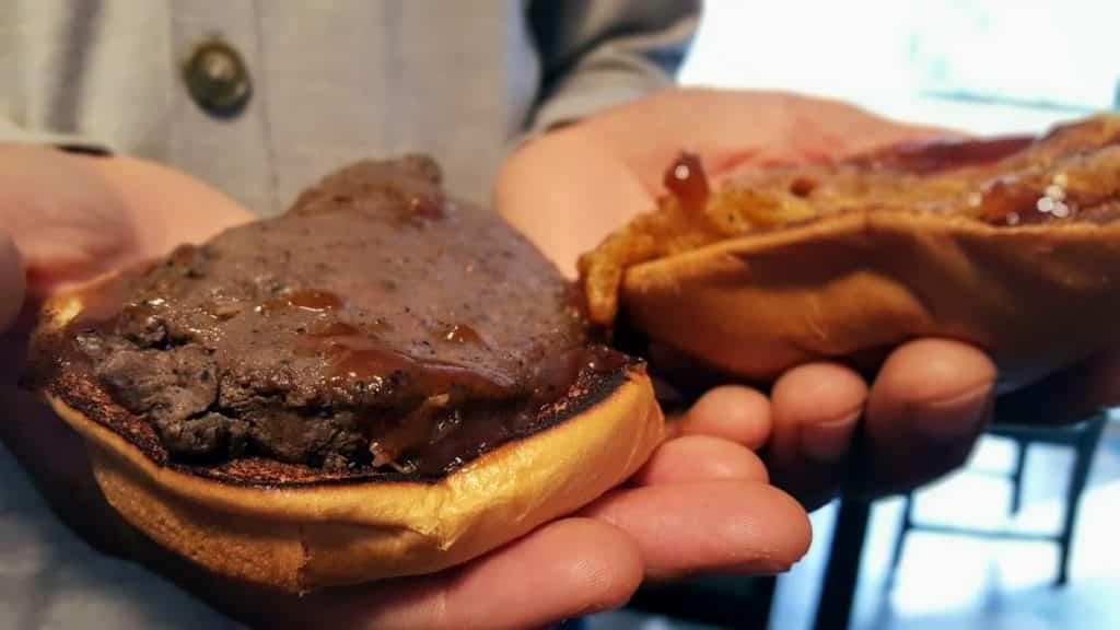 Arby's venison sandwich without bun on top