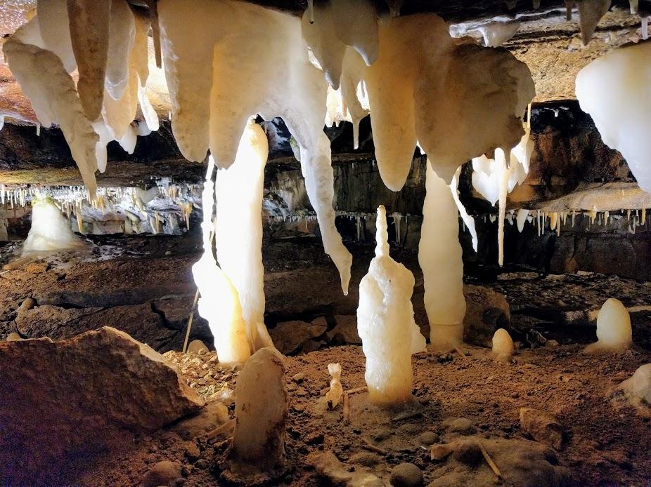 Calcite crystals forming in Ohio Caverns