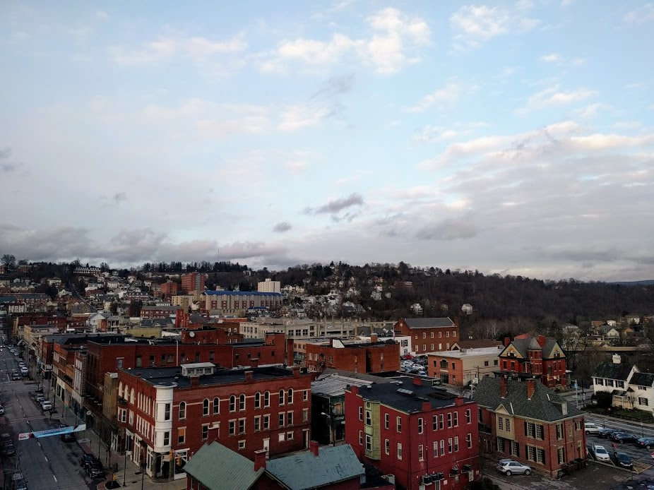 View of Morgantown, West Virginia from the roof of the Clarion Hotel