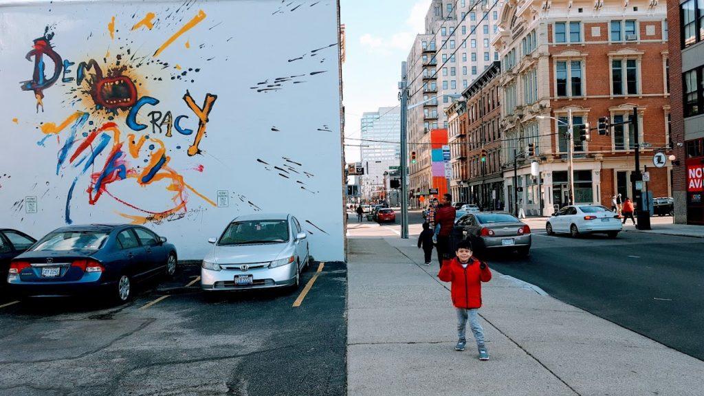 """Democracy"" street art in Over-The-Rhine Cincinnati"