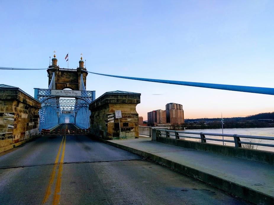 Suspension bridge in Cincinnati and Kentucky