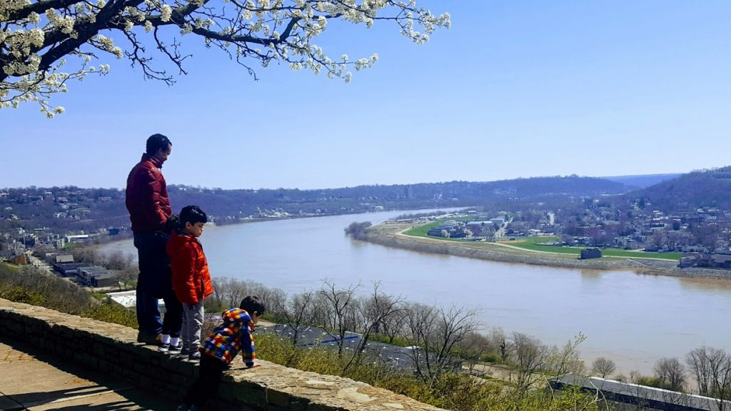 View of Ohio River from Eden Park in Cincinnati