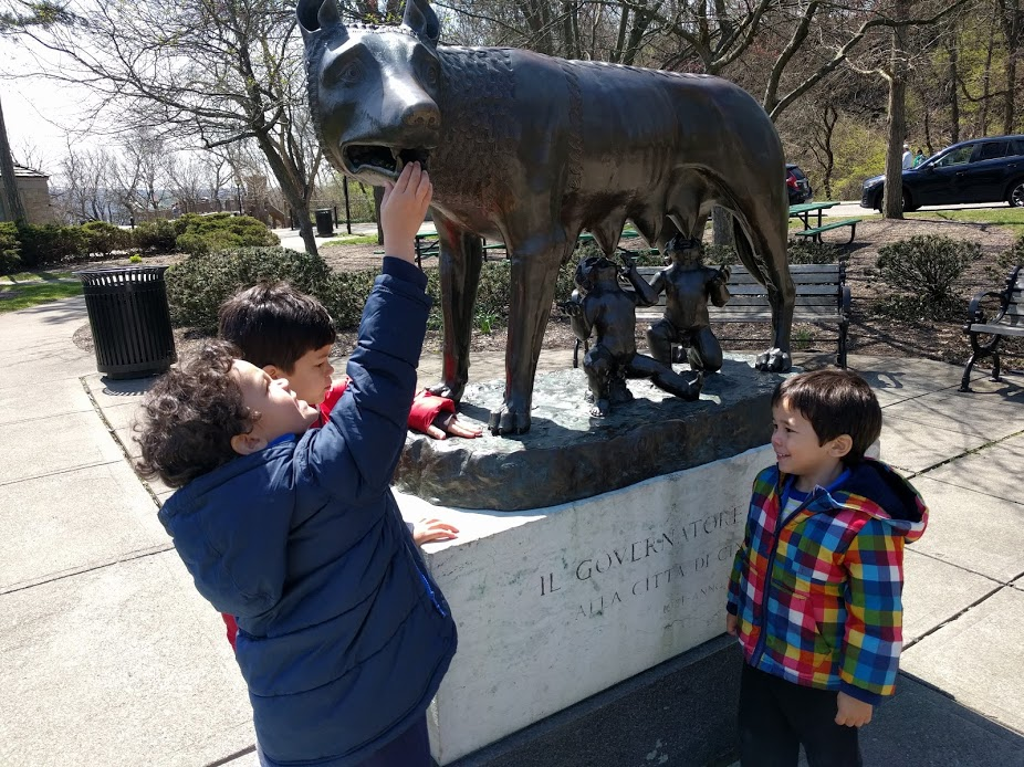 Kids playing near Wolf Statue in Eden Park Cincinnati