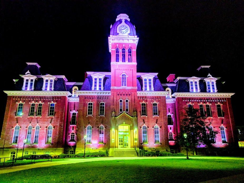 Lighted building on the campus of West Virginia University in Morgantown