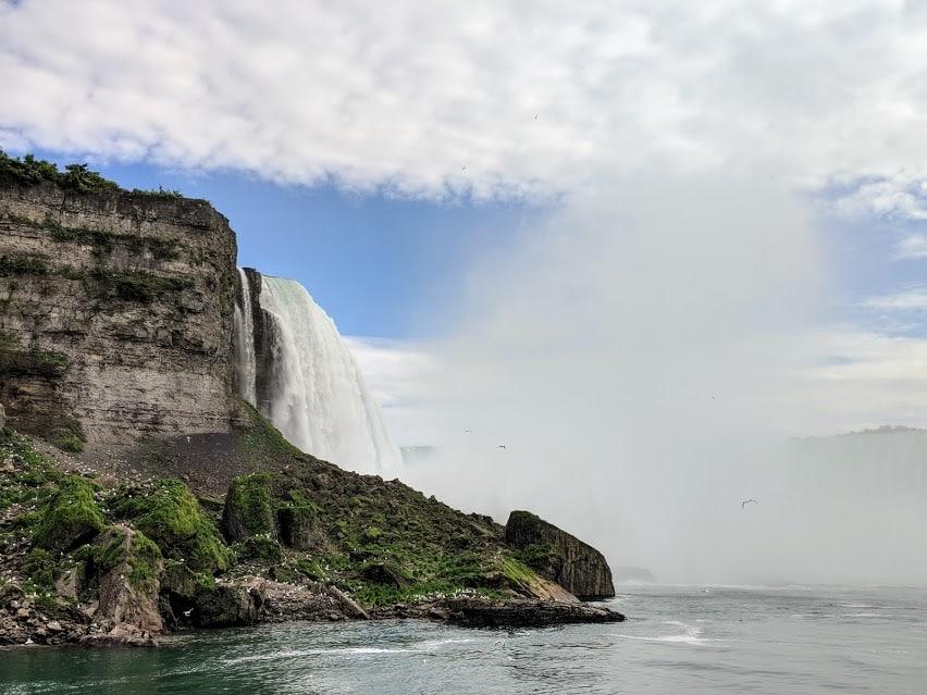 approaching niagara falls on hornblower cruise