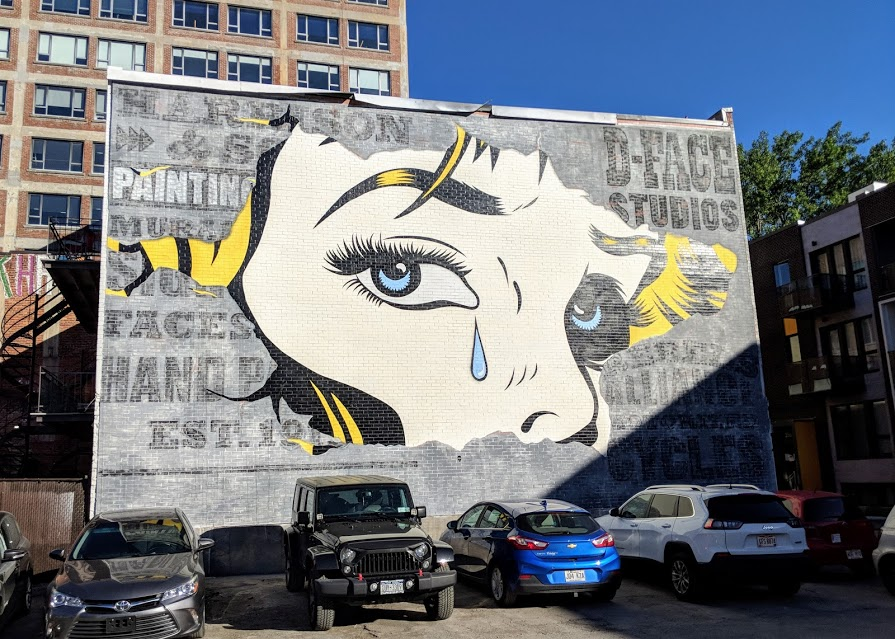 Crying woman mural seen in Boulevard Saint Laurent in Montreal