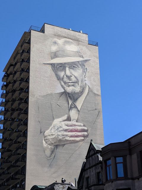 Mural of Leonard Cohen as seen on Boulevard Saint Laurent in Montreal