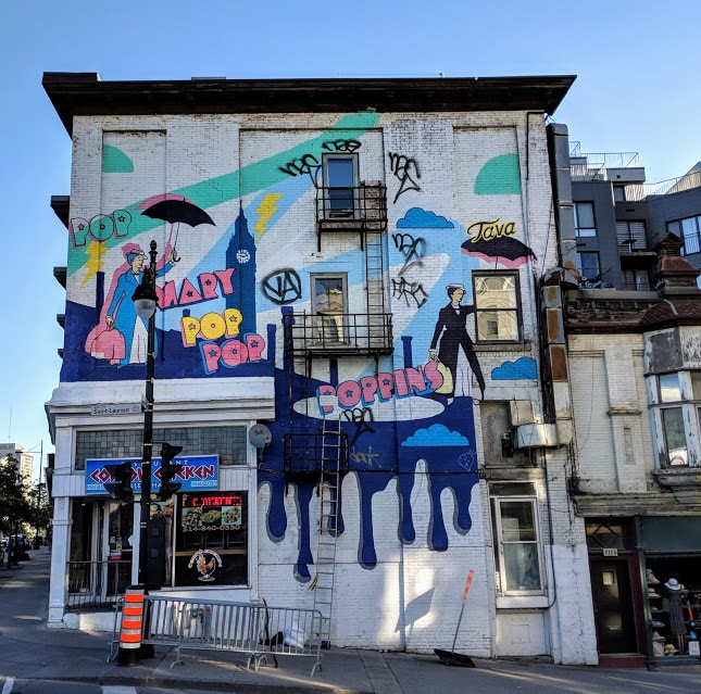 Mary Poppins mural as seen on Boulevard Saint Laurent in Montreal