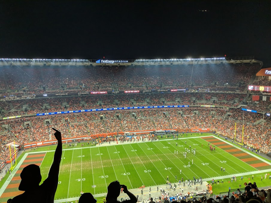 view from 500 level middle field at browns game