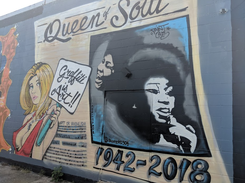 Aretha Franklin Mural in New Orleans' Bywater and Marigny neighborhood