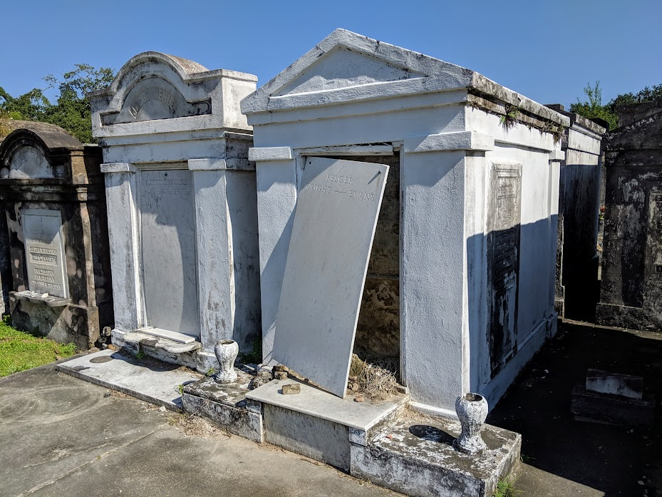 tomb in need of repair at Lafayette Cemetery #1 in New Orleans