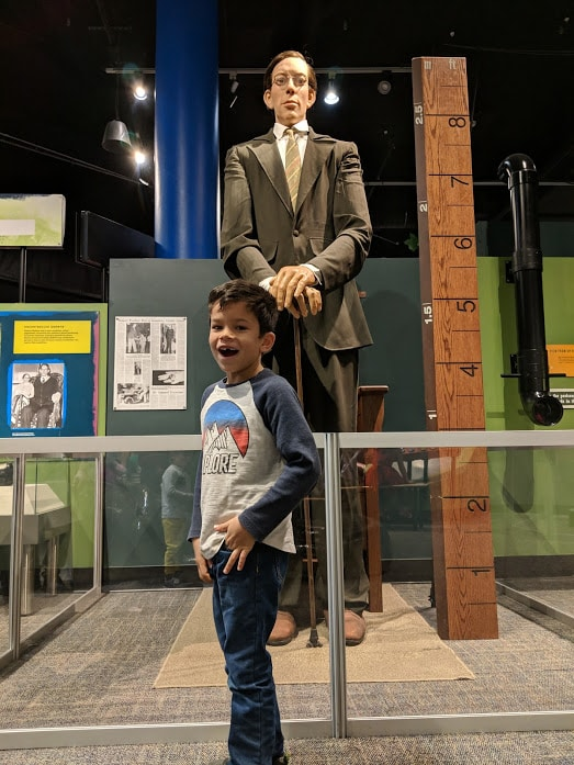 Kid stands in front of a replica of Robert Wadlow, world's tallest man. As seen in the Ripley's Believe It Or Not exhibit at the Children's Museum of Indianapolis.