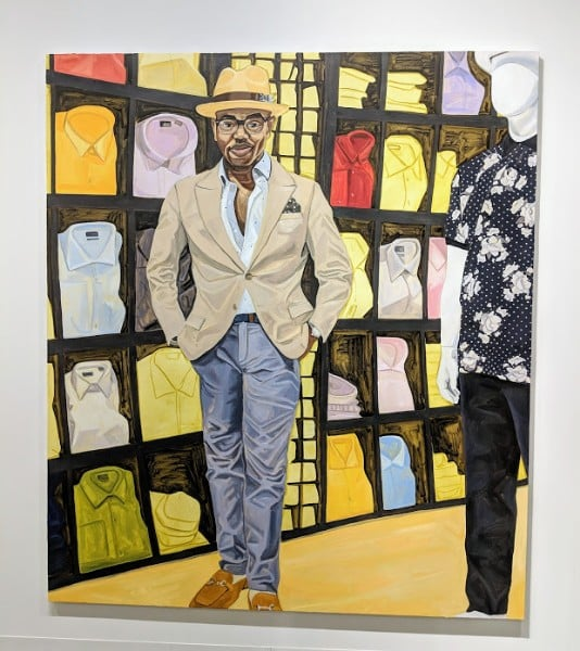 Painting of well-dressed black men, Art Basel 2018 Miami.