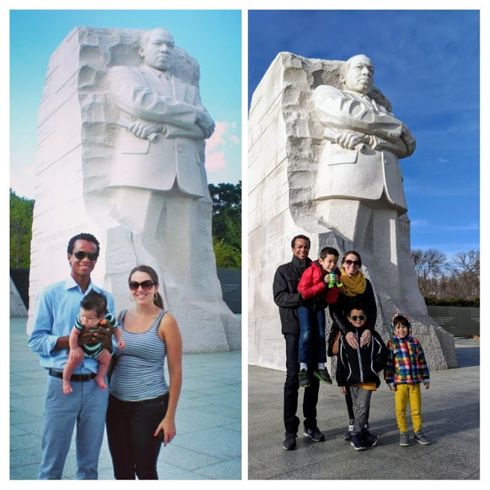 Multiracial family posing in front of MLK monument in 2011 and 2019