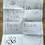 "Letter from 6-year-old to Dad saying ""I love you Dada because you have Black skin."""