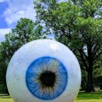 Giant blue eye sculpture in Laumeier Sculpture Park in St. Louis