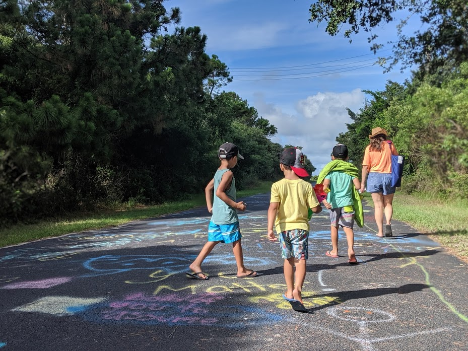 Chalk art on the walkway to Morris Island Lighthouse in Charleston, South Carolina.