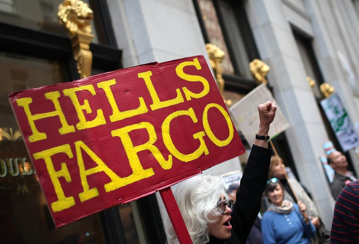 """Hells Fargo"" protest sign at Wells Fargo, photo by Justin Sullivan/Getty Images"