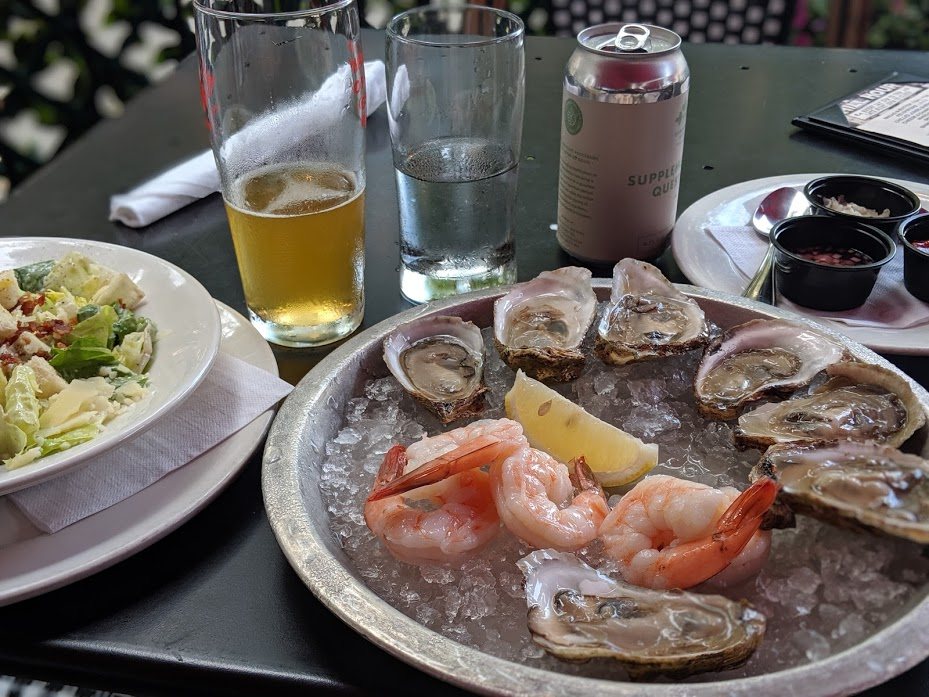 Oysters and cocktail shrimp at Metropolitan restaurant in Ottawa, Canada.