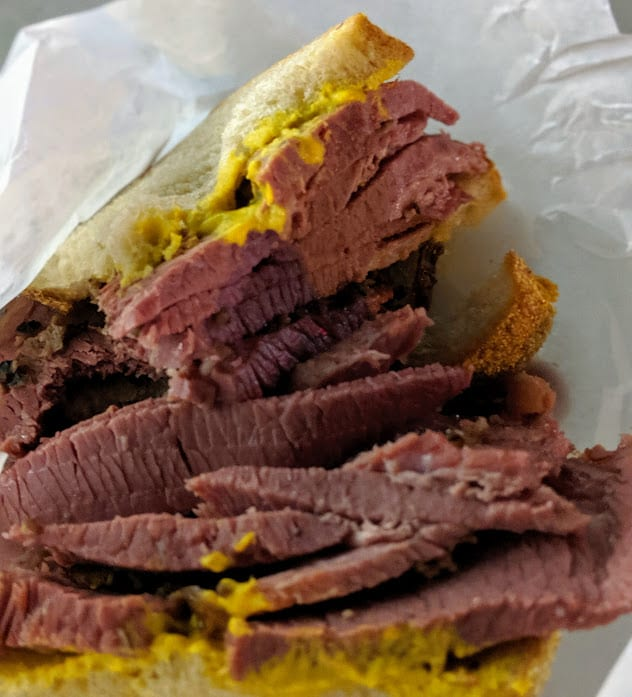A thick smoked meat sandwich as served in Montreal, Quebec.