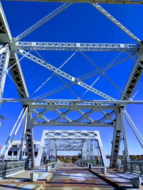 An icy John Seigenthaler Pedestrian Bridge