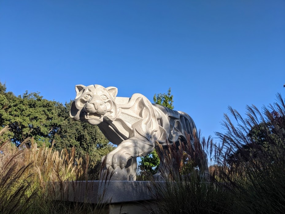 Lion sculpture at Sculpterra Winery in Paso Robles, California.
