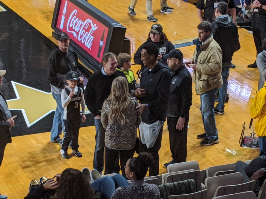 Scottie Pippen in the crowd at Vanderbilt basketball game.