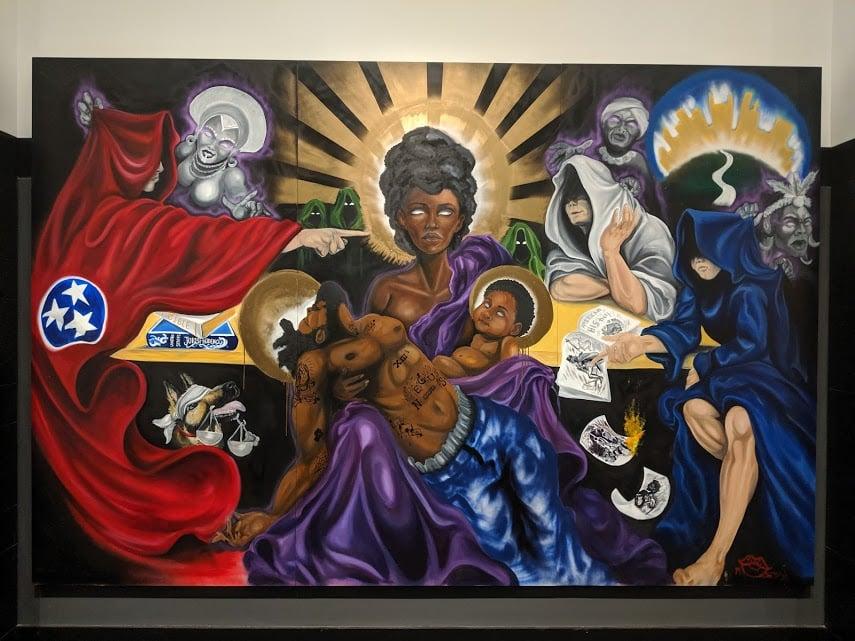 Unmask 'em mural by Elisheba Israel Mrozik in Nashville, TN.