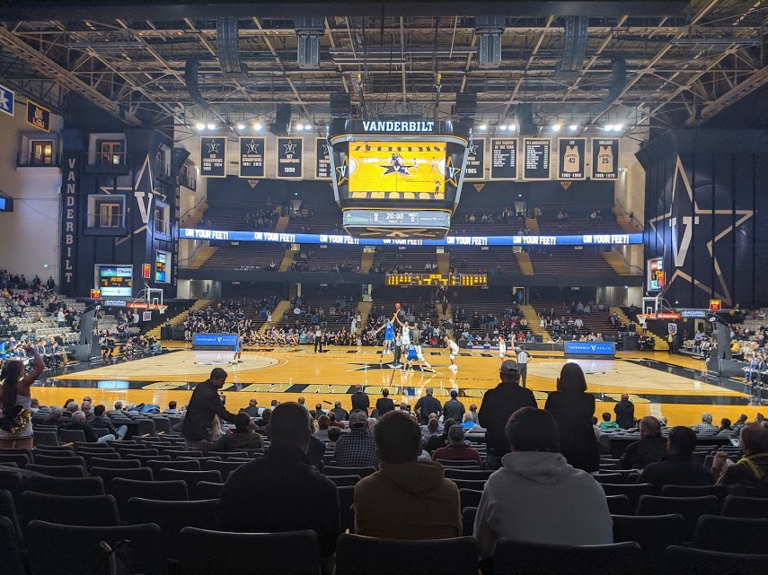 View from the six dollar seats at a Vanderbilt University men's basketball game