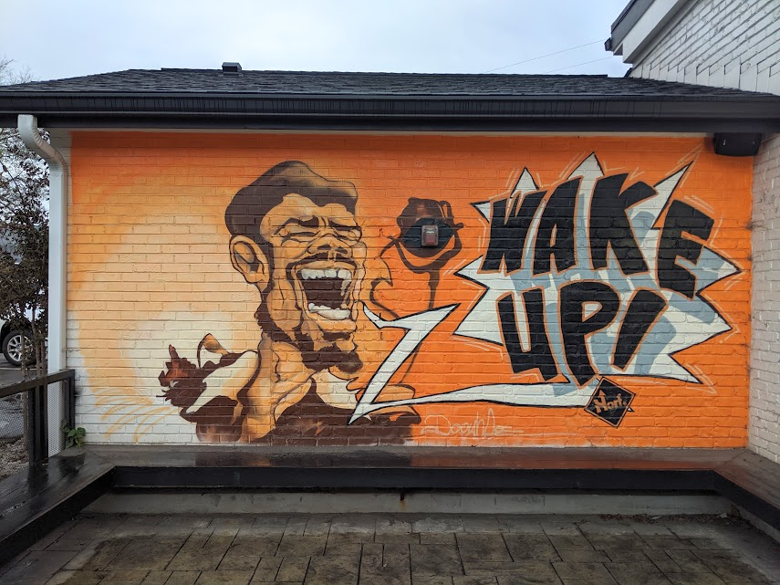"""Wake up!"" mural by Norf Art Collective in Nashville, TN."