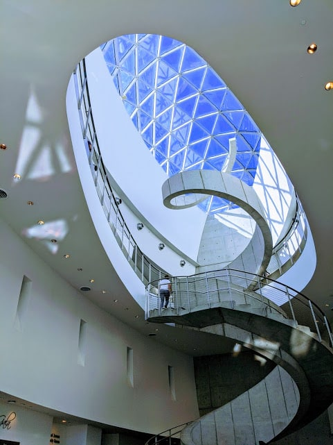 View of stairway from cafe in Salvador Dali museum in St. Petersburg, Florida.