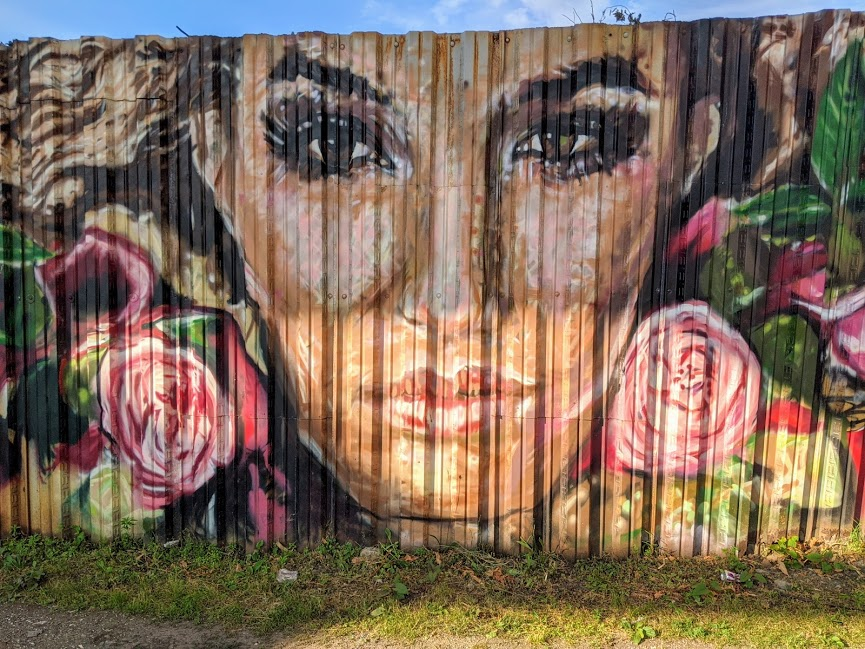 Street art of Latina woman with roses in her hair. Pittsburgh.