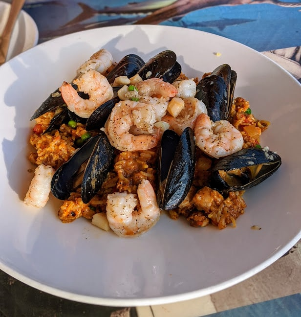 Tropical paella with shrimp and mussels from Kaya restaurant in Pittsburgh.