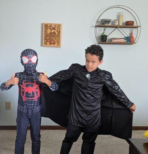 Two of the Gibson boys dressed as superheroes.